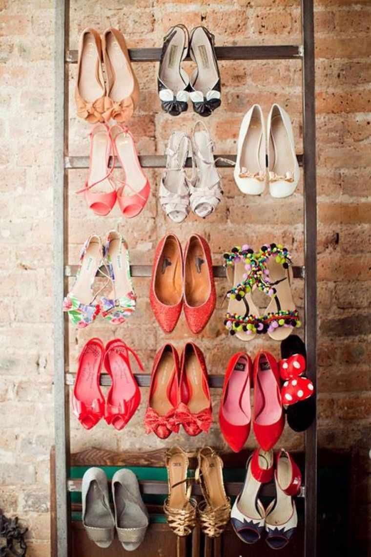 rangement chaussure etagere echelle bois diy deco chambre dressing