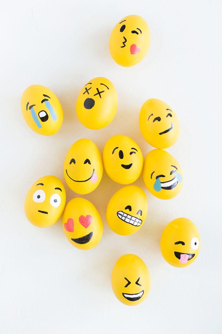 déco de Pâques à faire soi-même oeufs emoji enfant