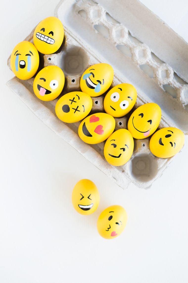 déco de Pâques à faire soi-même peinture oeufs emoji
