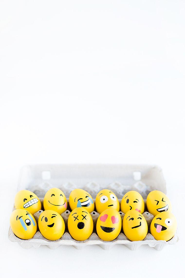 diy deco de paques oeufs peints emoji