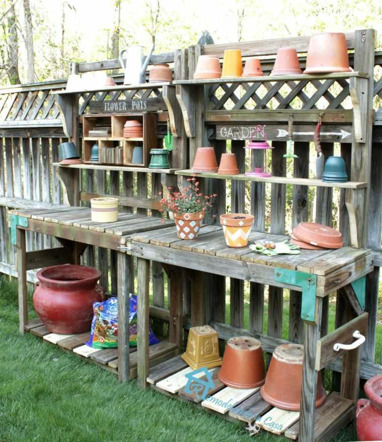diy rangement outils de jardin buffet-bois-palettes-modele
