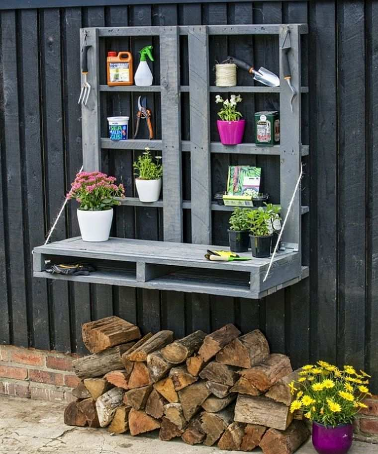 diy rangement outils de jardin palettes-exterieur-deco