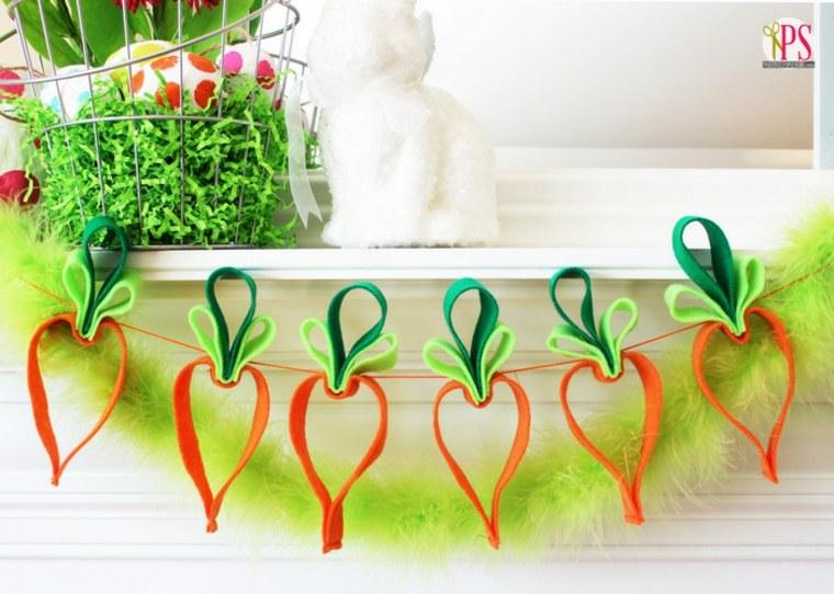 bricolage de pâques idée guirlande carottes diy activité manuelle enfant