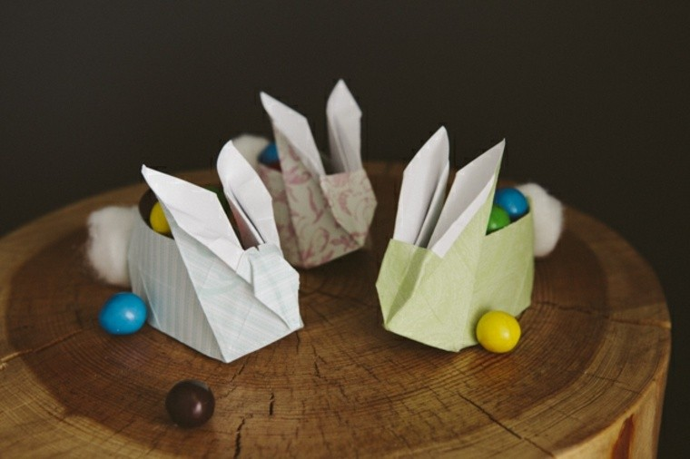 décoration pour pâques originale papier brico origami lapin