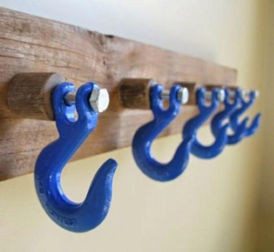 Porte manteau mural crochet en bleu objet déco bricolage