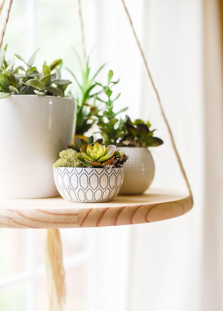 diy pot de fleur suspendu plante-interieur-petite-etagere-bois-corde