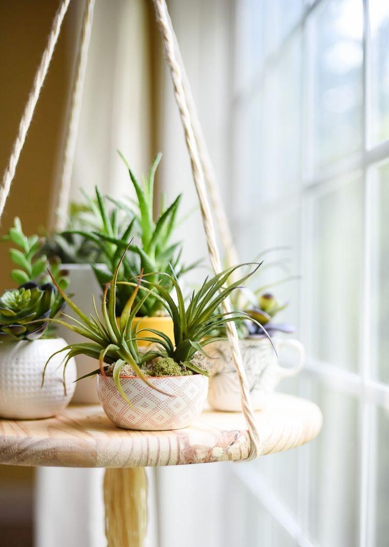 diy pot de fleur suspendu tutoriel-macrame-bois-etagere-suspension-florale