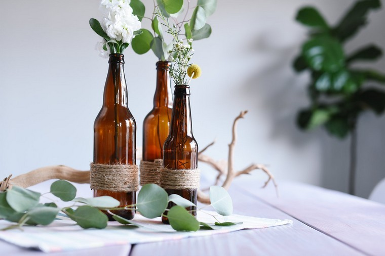 bouteille récup déco fleurs idées