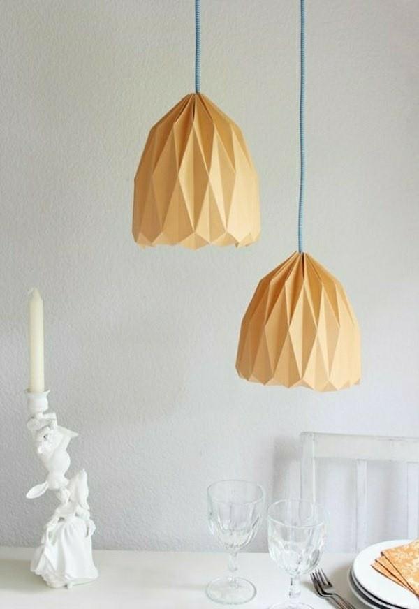 lampe suspendue bricolage origami papier orange
