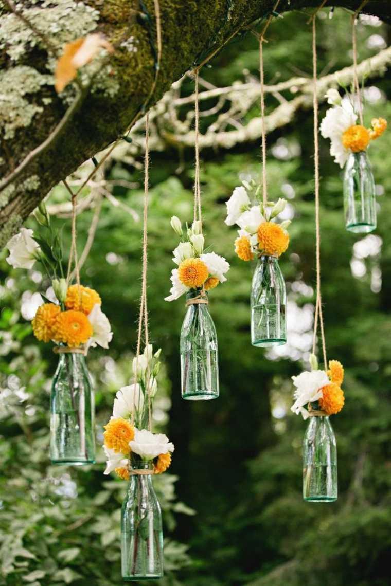 récup déco bouteille idée fleurs design extérieur