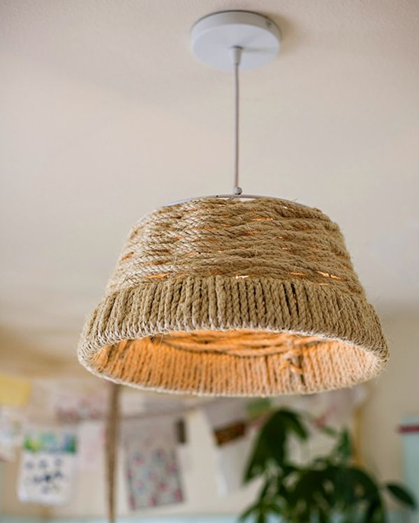 lampe abat jour corde