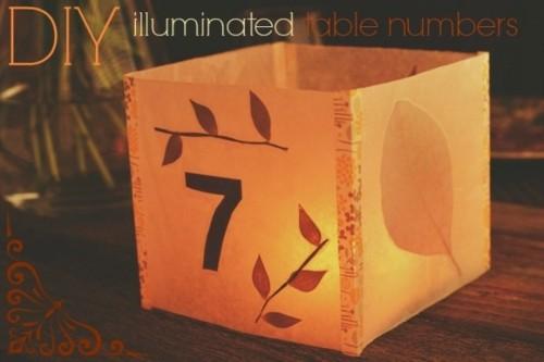 numero table mariage lanterne DIY