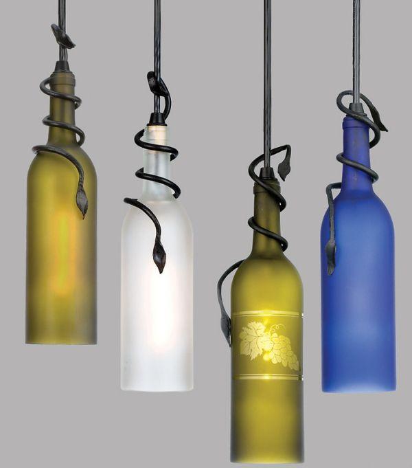 suspension luminaire design bouteilles