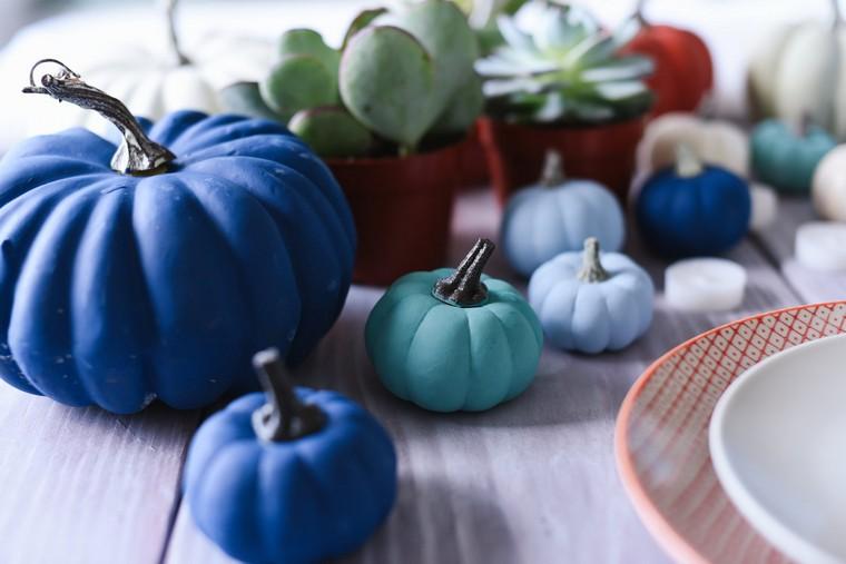 déco citrouille bleue idée jardin espace