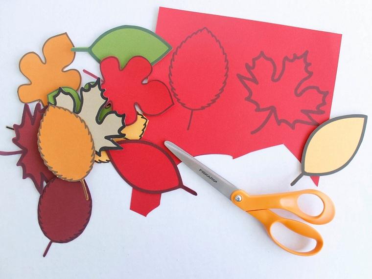 activité automne avec feuilles en papier à découper