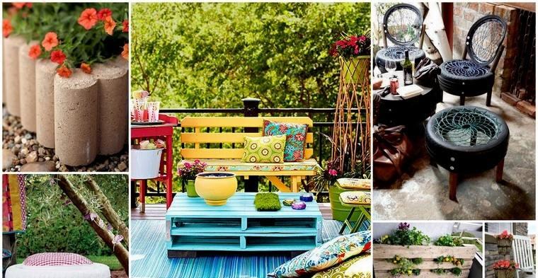 mobilier de jardin pas cher diy idée pneus voiture table basse palette