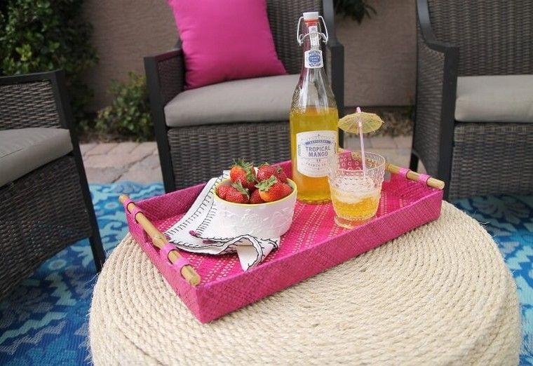 extérieur mobilier jardin idée pouf design fauteuil résine tressée