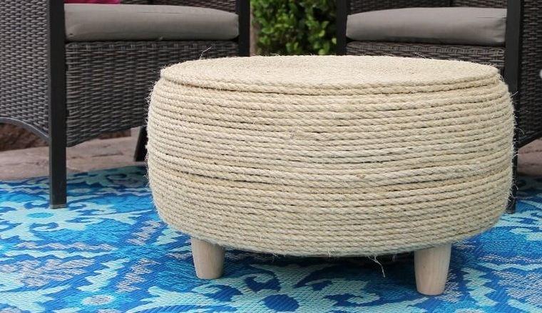 mobilier de jardin pas cher idée diy table basse pouf