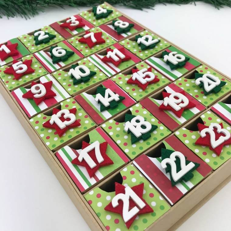 calendrier en boite en bois