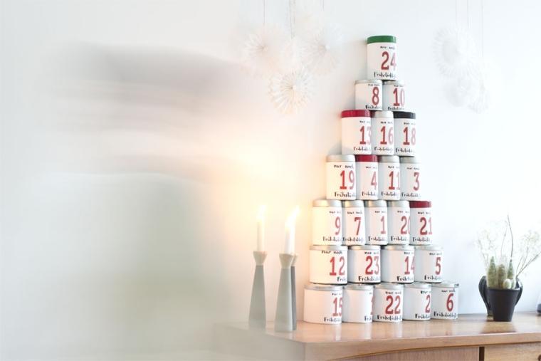 déco de Noël en boites de café