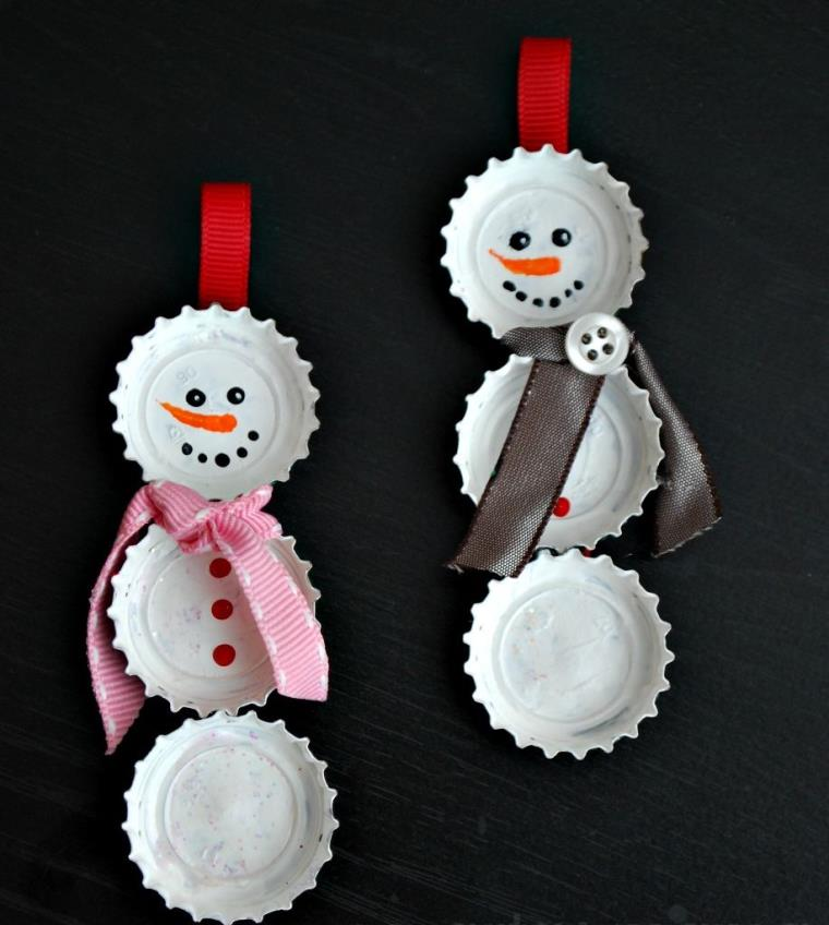 DIY déco Noël bouchon-soda-bonhomme-de-neige