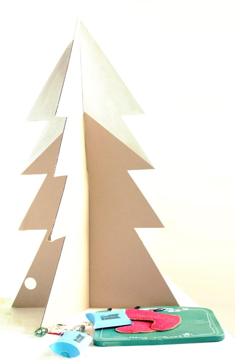 diy déco Noël sapin alternatif carton diy déco maison noël intérieur