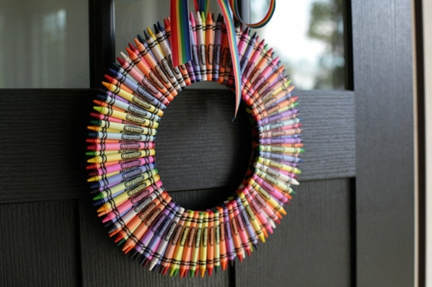 Couronne couleur base de pastels design déco maison porte