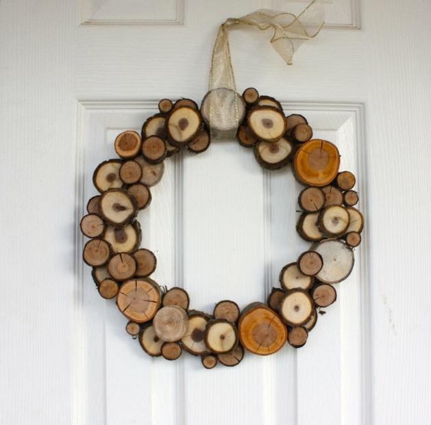 Idée superbe nature proche couronne vrais morceaux de bois
