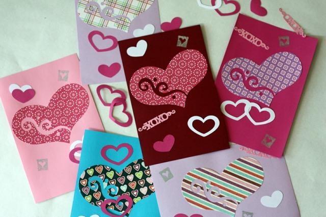 carte Saint Valentin DIY coeurs