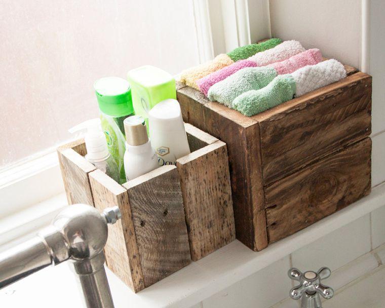 decoration palette de bois boites paniers rangement accessoires pas cher salle de bain