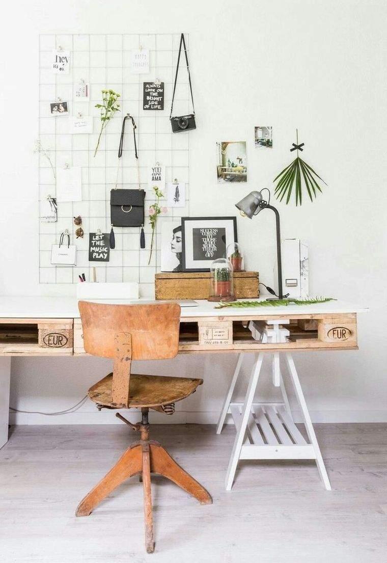 meuble en palette bois bricolage bureau amenagement espace de travail