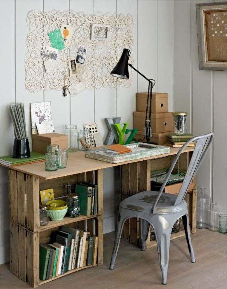 meuble en palette faire un bureau bois etagere decoration recup