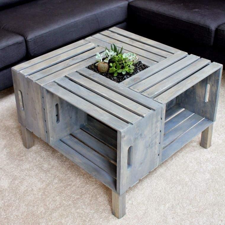 meuble en palette bois plan mobilier salon idee diy deco table basse