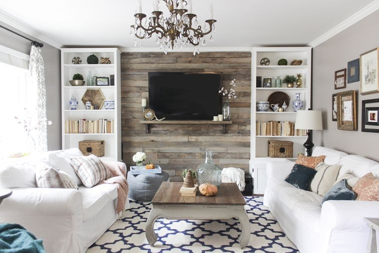 meuble en palette de bois idee meuble tv bois parement mural