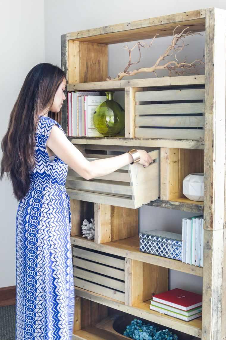 meuble palette tutoriel etagere rangement mural bois faire soi meme boites