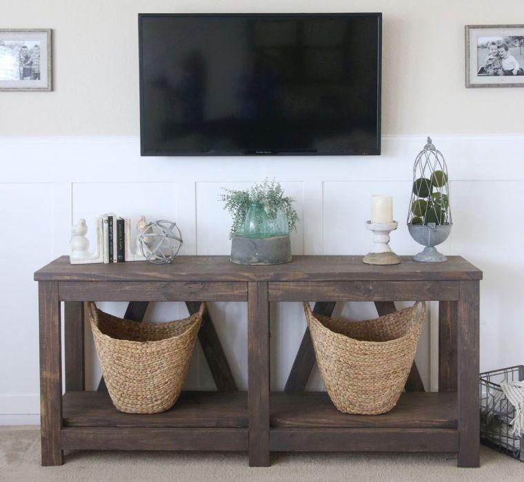 meuble palette modele table bois console paniers deco naturelle