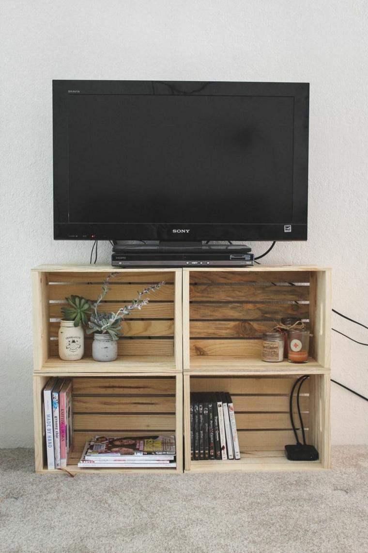meuble tv palette de bois astuces rangement support ecran plat a fabriquer