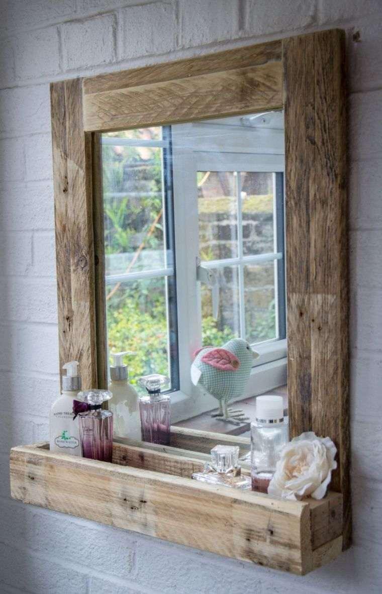 meuble palette miroir mural decoration idee salle de bain recup