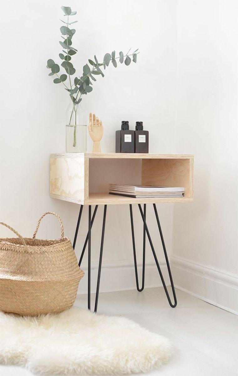 petite table de chevet palette mobilier scandinave a faire-soi meme chambre adulte deco