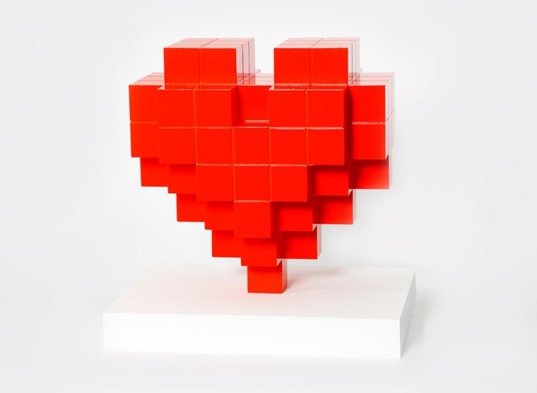cadeau saint valentin design coeur 8bit heart 3D