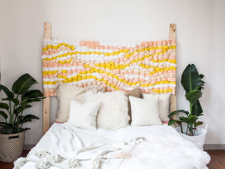 idée tête de lit DIY facile tissée avec cadre en bois