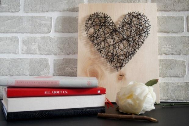 string art en forme de coeur pour st valentin
