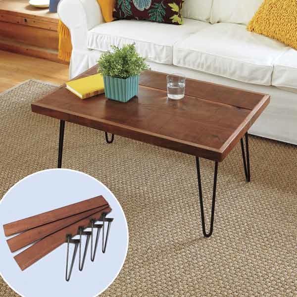 Table avec des jambes en épingle de cheveux