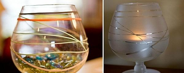 gobelets bandes caoutchouc autour verre