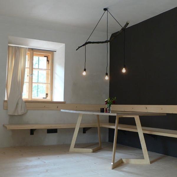 idées de déco lampe supension-DIY-bois-banc-table