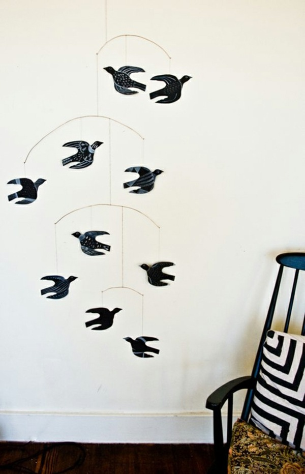 mobile berceau base oiseaux papier