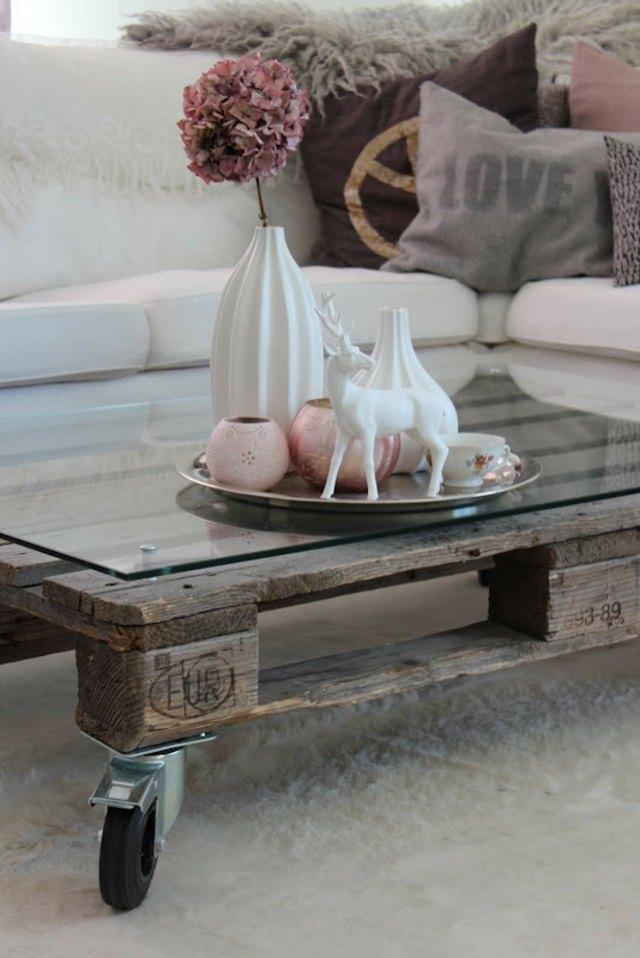 palette table bricolage verre idée de table de salon basse pas chère déco salon printemps