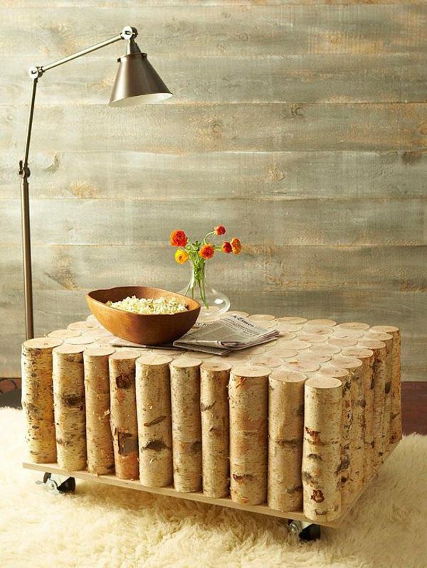 table originale diy rondins bouleau