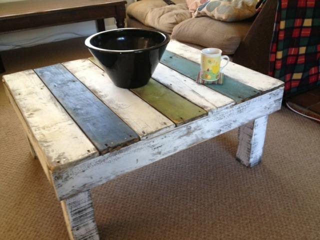 table basse en palette blanche salon moderne bricolage pas cher