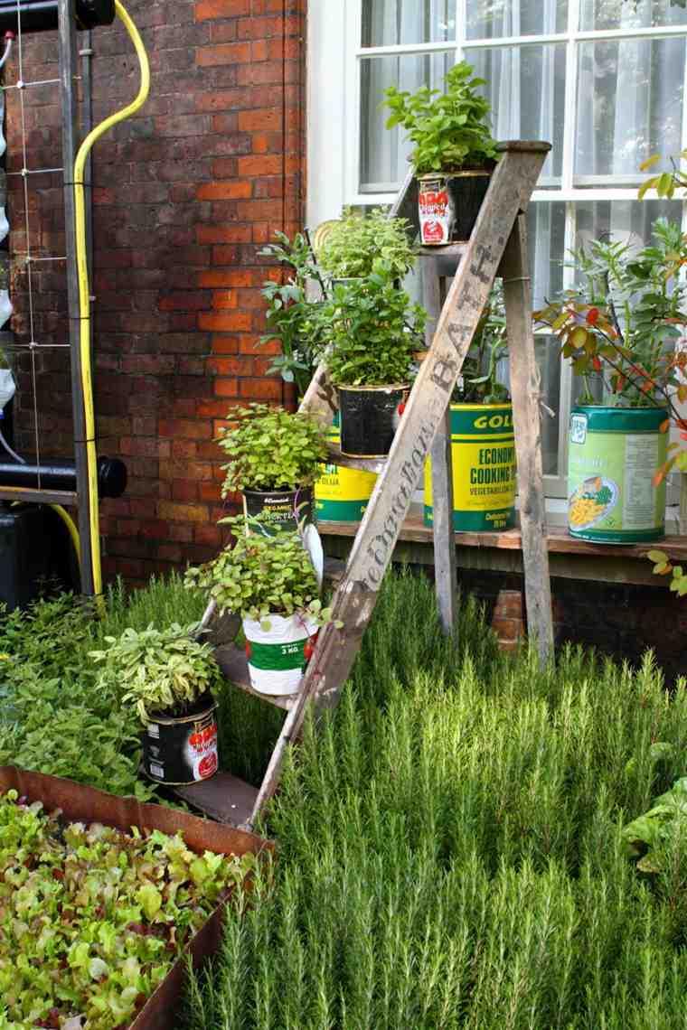 échelle bois support pots fleurs